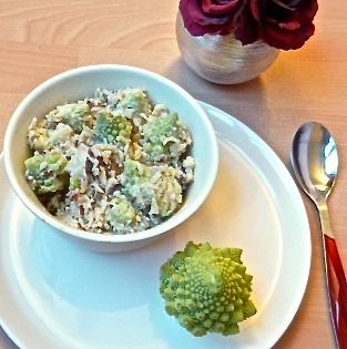 Wok de riz crémeux aux shitakés et aux fleurs de chou romanesco - C'Végétal