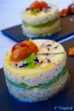 Timbale estivale : courgette jaune marinée, avocat et crème de lentilles corail citronnée