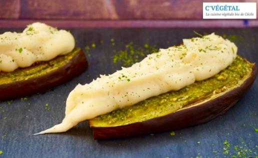 Aubergines rôties à l'ail et persil et purée de panais : Garlic and parsley-roasted eggplant and mashed parsnip - C'Végétal