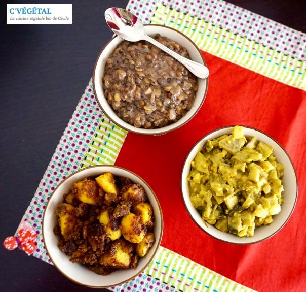 Trio de légumes façon indienne : Indian-style vegetable dish trio - C'Végétal