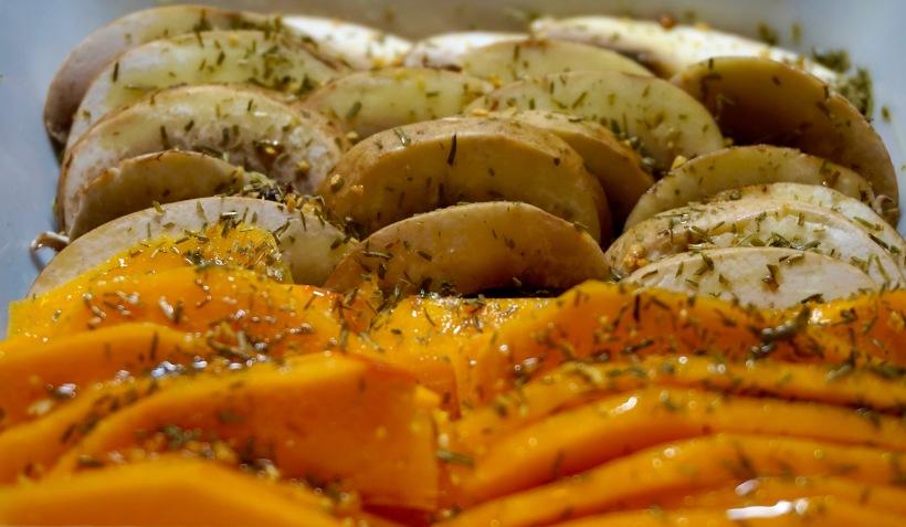 Le sandwich champignons-potimarron-cheddar comme chez Cojean - Les légumes avant cuisson